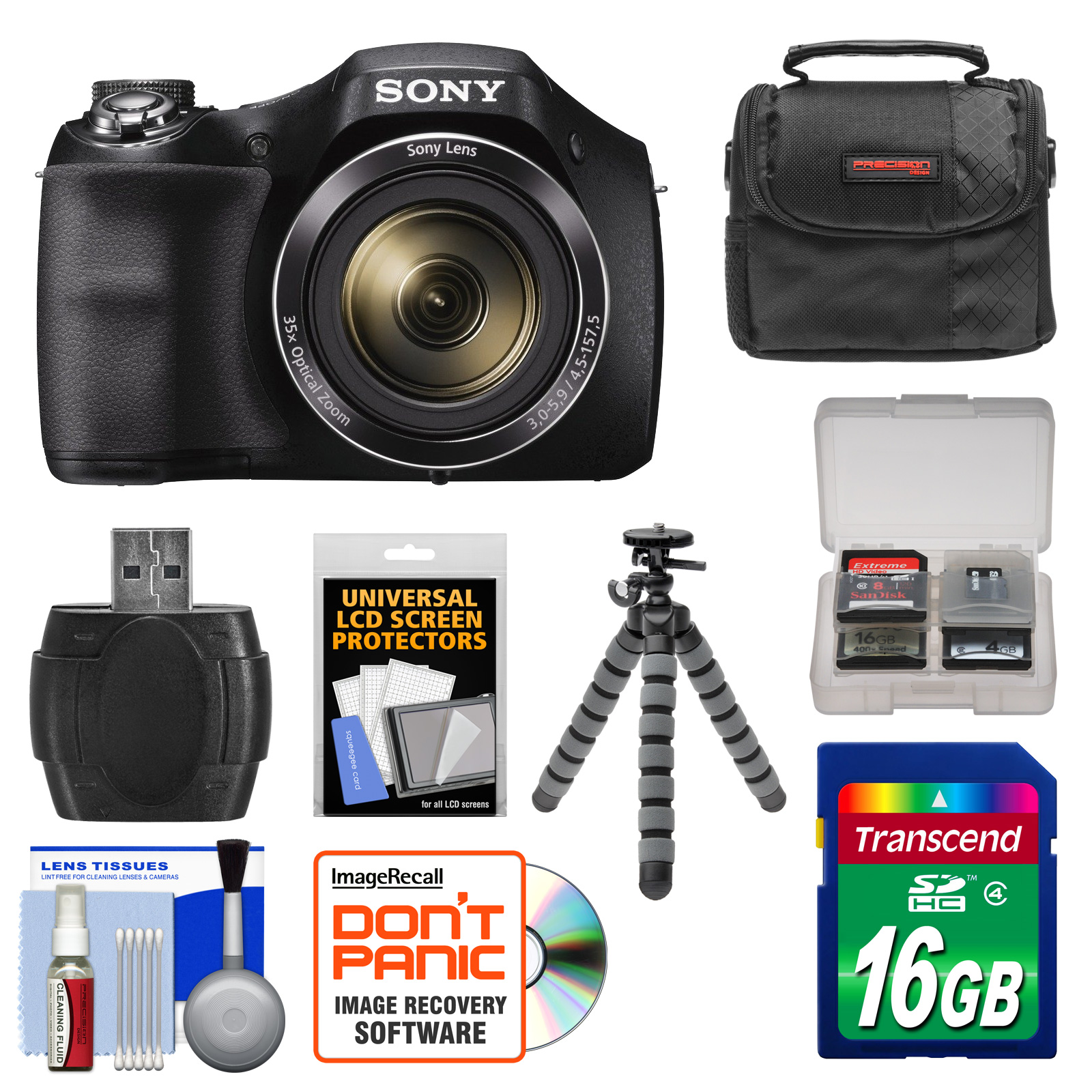 Sony Cyber-Shot DSC-H300 Digital Camera with 16GB Card + Case + Flex Tripod + Kit