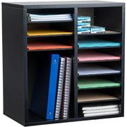 AdirOffice Wood 16 Compartment Adjustable Classroom Paper Literature Organizer File Sorter, Black