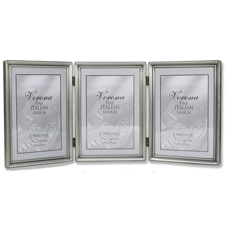 Antique Pewter 5x7 Hinged Triple Picture Frame - Bead Border (Love Pewter Frame)