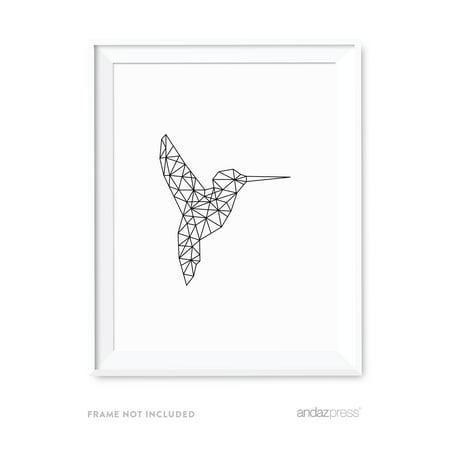 Hummingbirds Animals - Hummingbird Geometric Animal Origami Wall Art Black White Minimalist Print