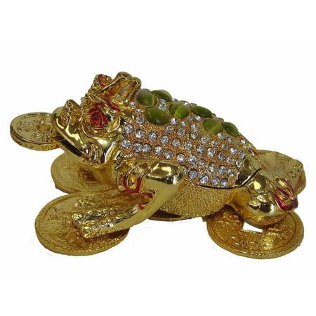 Bejeweled Frog - Big Bejeweled Cloisonne Money Frog Statue
