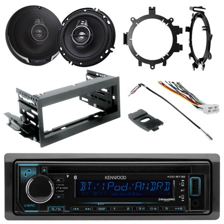 "Kenwood KDCBT32 In Dash CD MP3 Bluetooth Receiver, 2x 6.5"" Performance Series 3-Way Speakers, Scosche Dash Kit, Radio Wiring Harness, Enrock Antenna Adapter, Speaker Brackets (Fits 95-02 GM Full Size)"