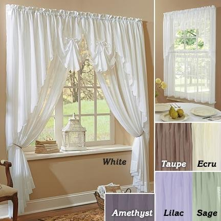 Sheer Voile Curtains Amethyst Fan Valance Swag Insert 30