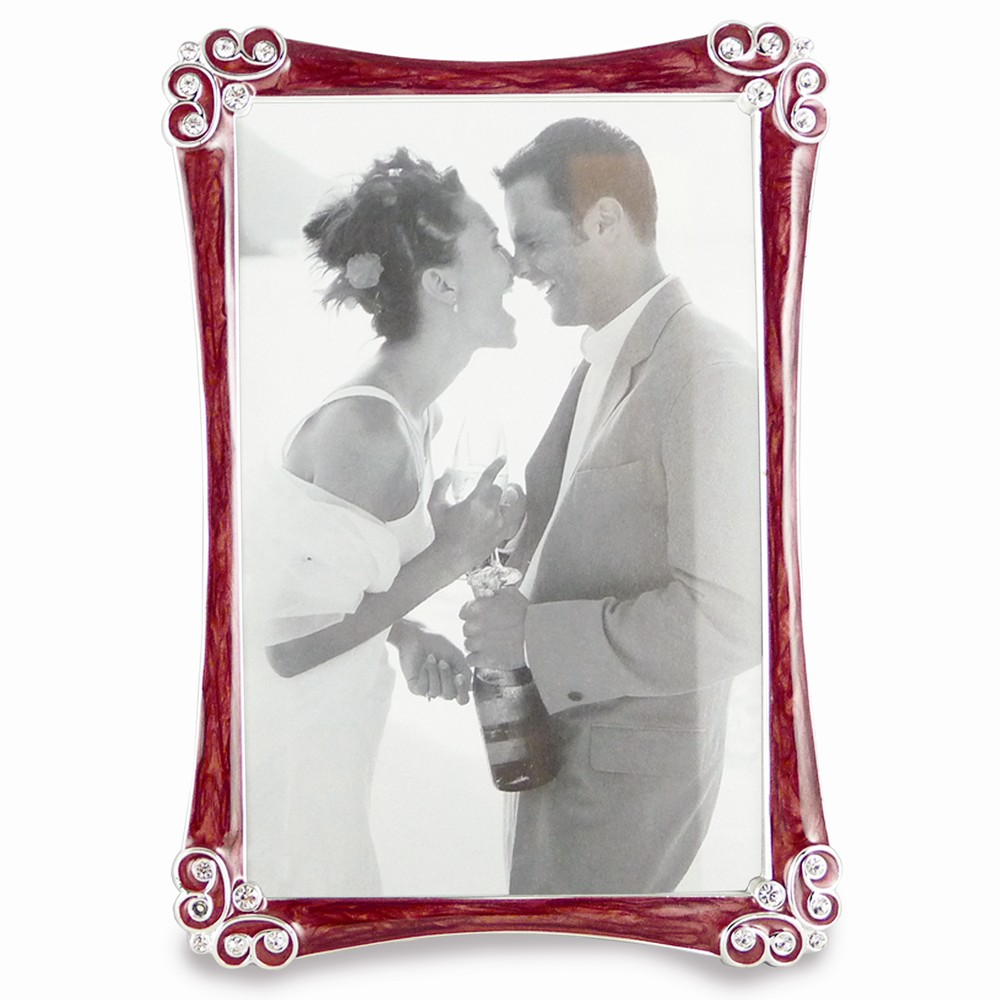 Silver-tone Burgundy Enamel with Crystals Photo Frame