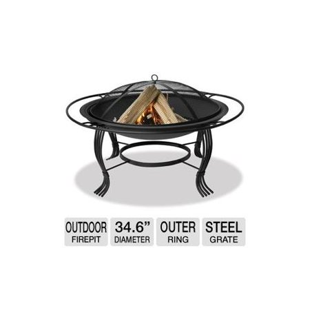 Blue rhino wad1050sp outdoor firepit 34 6 diameter 30 for Outdoor fireplace spark arrestor