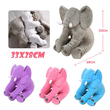 Purple Elephant Stuffed Animal (Soft Plush Elephant Pillow Lovely Cute Baby Sleeping Pillow Kids Children Lumbar Cushion Stuffed Doll Birthday Toy)