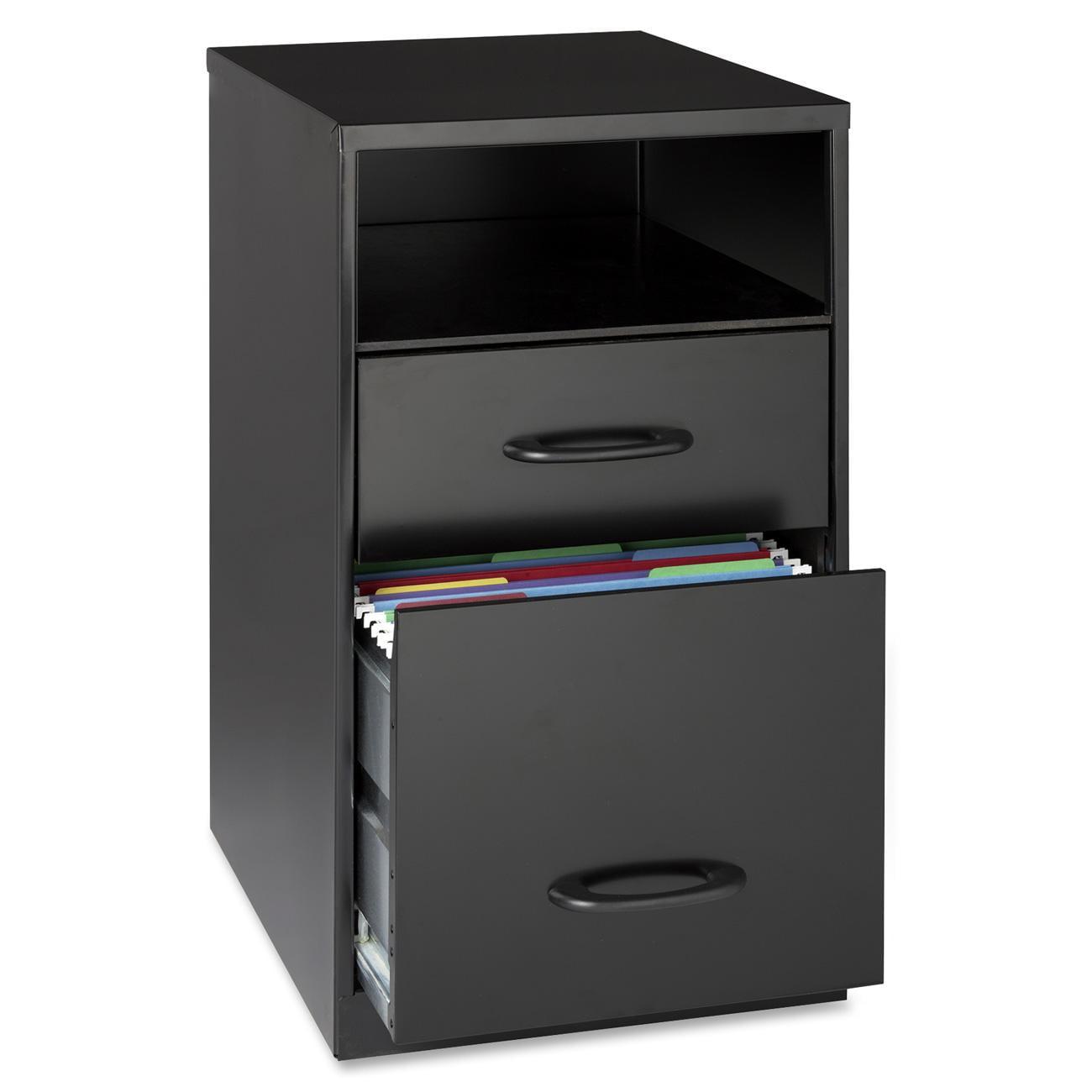 Lorell 2 Drawers Vertical Steel Filing Cabinet Black Walmartcom
