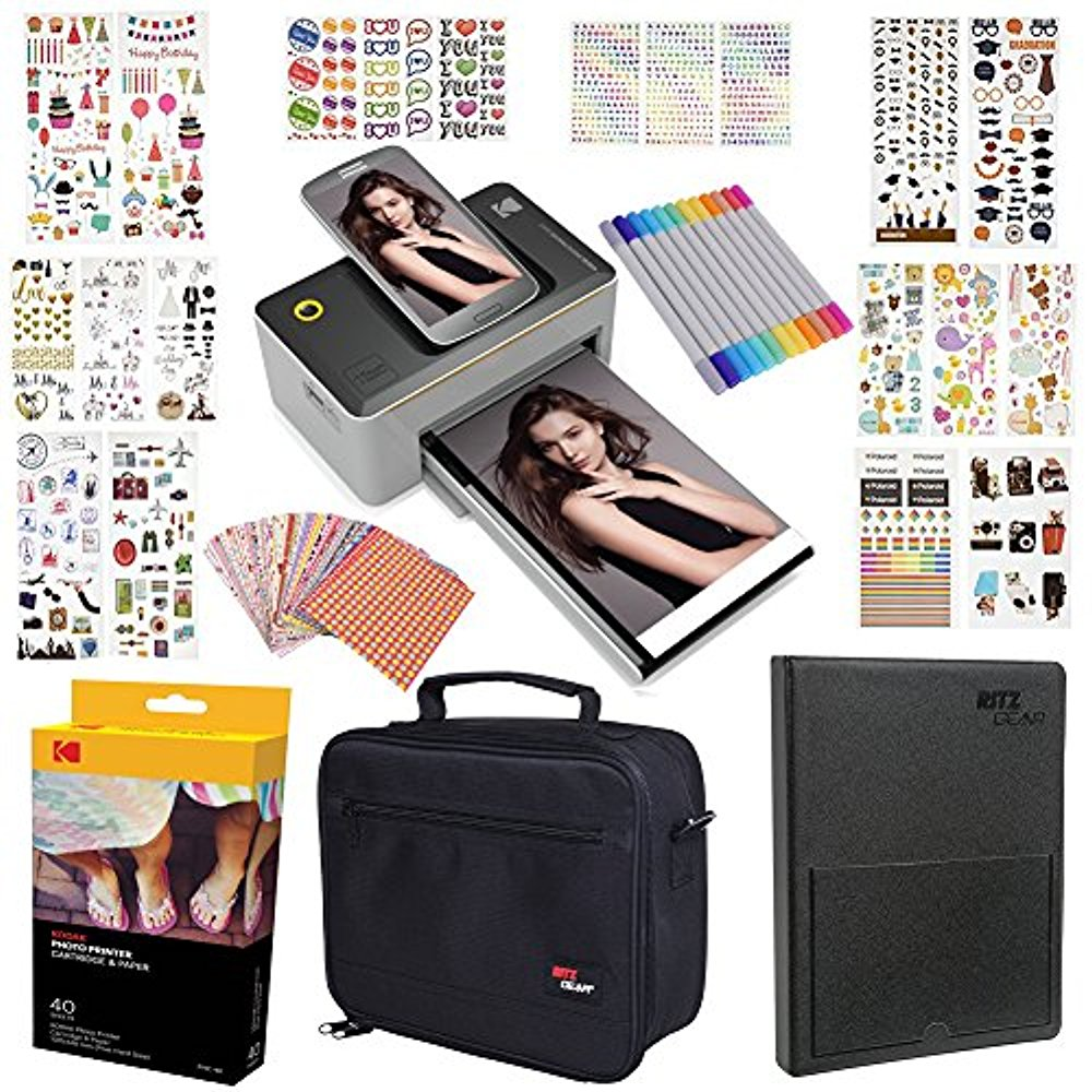 "Kodak Dock 4x6"" Printer Gift Bundle + 40 Paper + 9 Unique Colorful Sticker Sets + Case + Markers + Photo Album + Sticker Frames"
