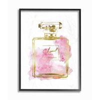 The Stupell Home Decor Collection Glam Perfume Bottle Gold Pink Oversized Framed Giclee Texturized Art