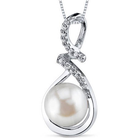 9.0mm Freshwater Cultured White Pearl Rhodium over Sterling Silver Pendant, 18
