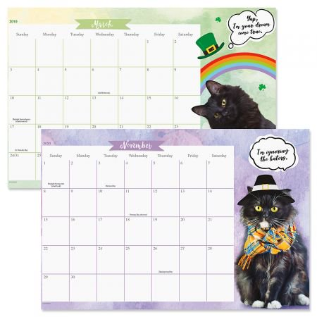 2019-2020 CATtitude Calendar Pad- 24 Month Desk Pad Calendar With Magnet Strips to Hang on Fridge or File Cabinet - Desk Fridge