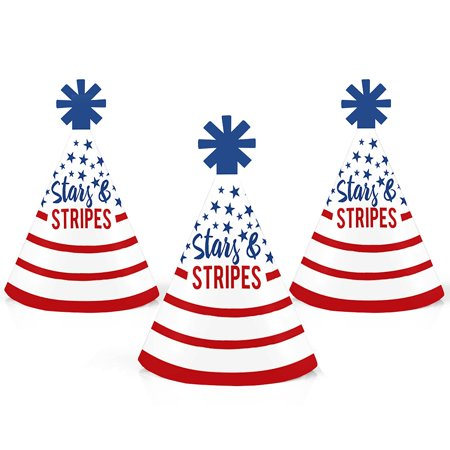Stars & Stripes - Mini Cone Memorial Day Patriotic Party Hats - Small Little Party Hats - Set of - Striped Cones