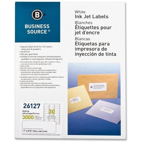 Business Source Mailing Labels, Inkjet, 1''x2-5/8'', 3000 per Pack, White