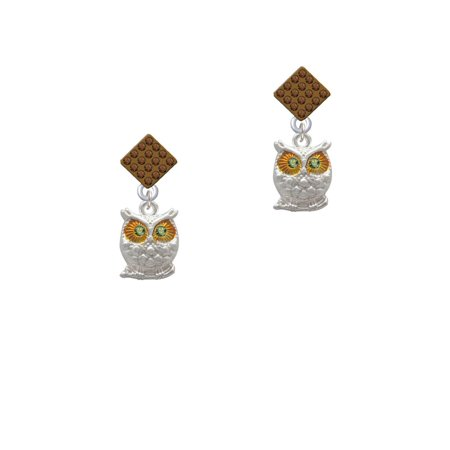 Owl with Lime Green Crystal Eyes Brown Crystal Diamond-Shape - Lime Crystals Crystals