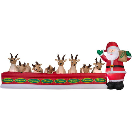 Gemmy Airblown Inflatables Christmas Inflatable, 16.5' Santa Feeding 8 Reindeer