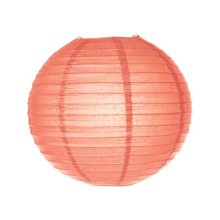 Premium Paper Lantern, Clip-On Lamp Shade (14-Inch, Parallel Ribbed, Peach) - Rice Paper Chinese/Japanese Hanging Decoration - For Home Decor, Parties, and Weddings