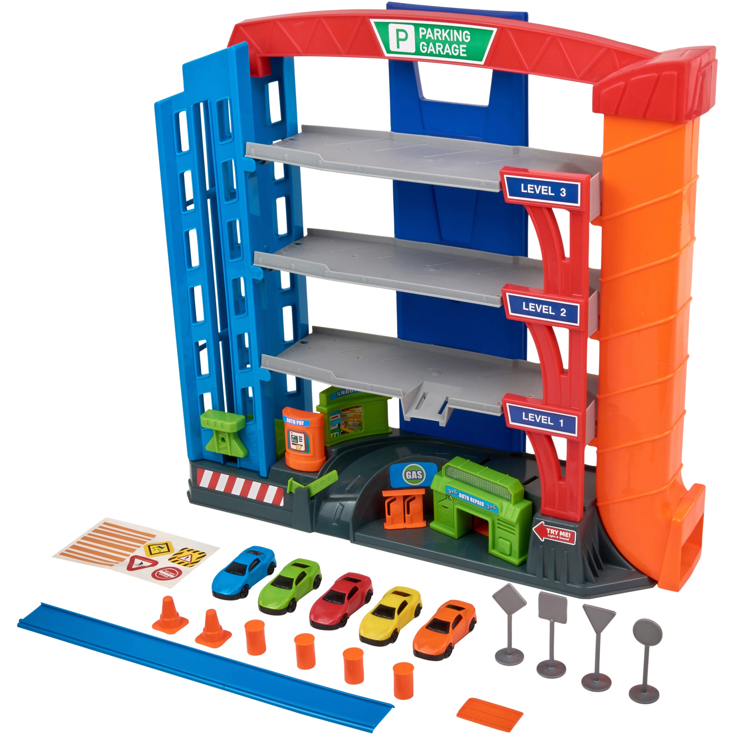 Kid Connection 17-Piece 3-Level Light & Sound Garage Play Set