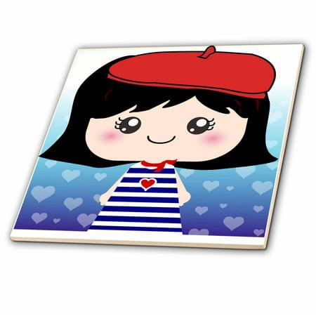 3dRose Cute Kawaii Cartoon French Girl Doll in traditional France Paris Blue Stripe Dress red beret hat - Ceramic Tile, - Paris Hat