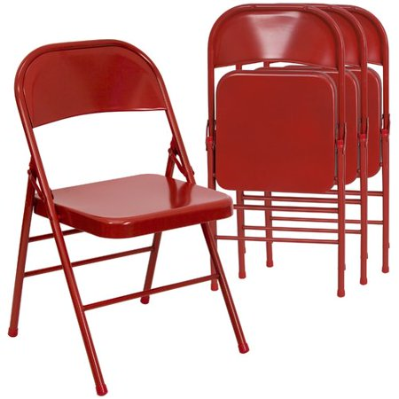 Red Folding Chair - Hercules Hinged Metal Folding Chair - 4-Pack, Red