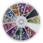 (2 Pack) Premium MASH 1200 Piece 12 Color Nail Art Nailart 3D Design Heart Shape Rhinestones