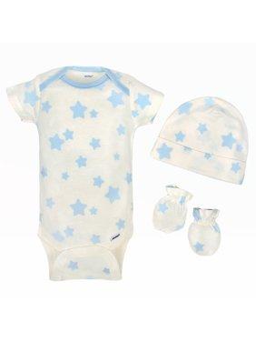 Gerber Newborn Baby Boy Organic Cap and Mittens Set, 4pc