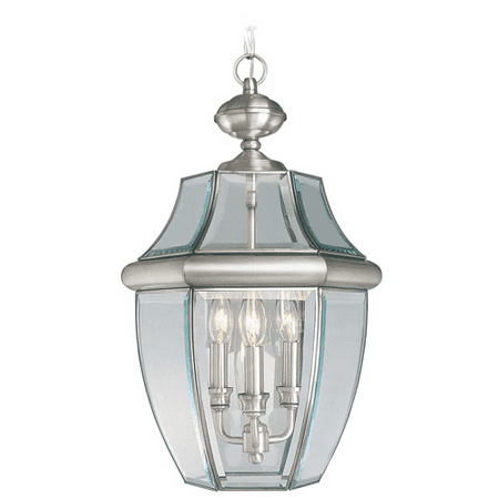 Pendants Porch 3 Light With Clear Beveled Solid Brass Brushed Nickel size 12.5 in - World of (Aged Nickel Crystal Crystal)