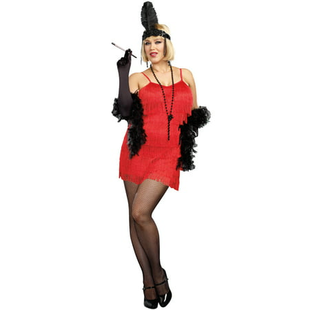 20s Red Flapper Dress Women's Plus Size Adult Halloween Costume, XL (20s Dress Style)