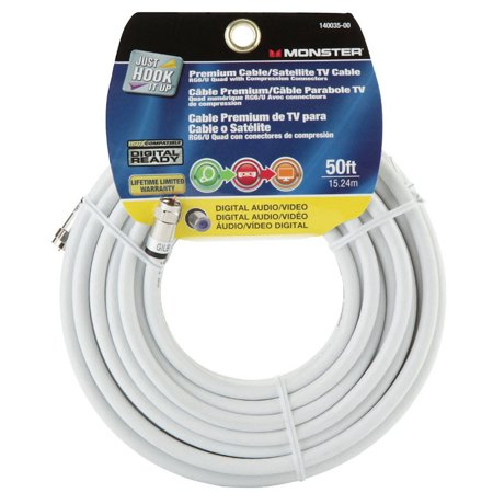 Monster Jhiu 140035-00 White 50 ft. 75 Ohm Digital Video Coaxial Cable ()