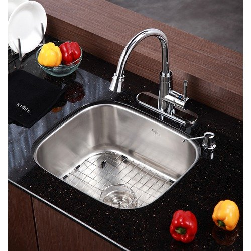 Kraus Stainless Steel 16 Gauge Undermount  20'' Single Bowl Kitchen Sink