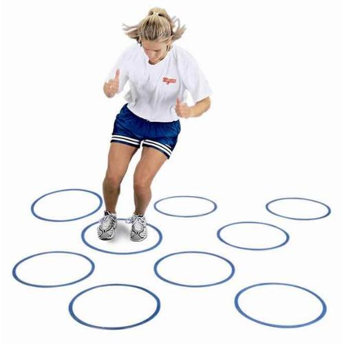 Multi-Function Flat Fitness & Agility Rings - 12 Pc Set (Blue)