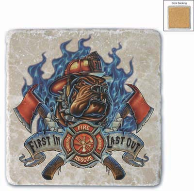 Firefighter Firefighter First in Last Out Set of 2 Natural Stone Coasters