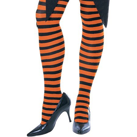 Womens  Black and Orange Striped Witch Costume Tights - Tights Costume