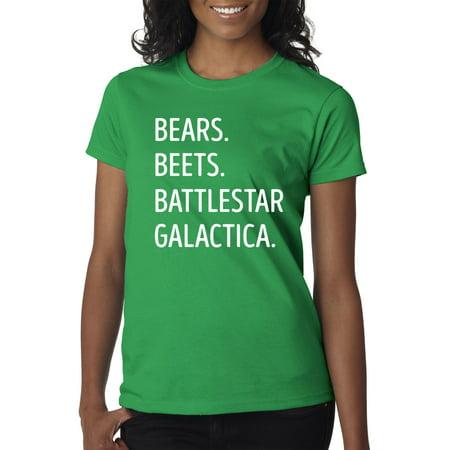 New Way 873 - Women's T-Shirt Bears Beets Battlestar Galactica Office Jim 2XL Kelly Green