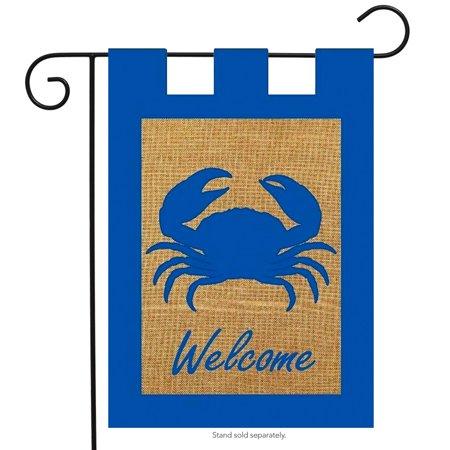 Nautical Garden Decor - Welcome Crab Summer Burlap Garden Flag Nautical Ocean Life 12.5