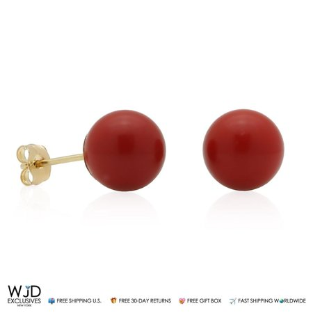 Coral Purple Earrings - 14K Solid Yellow Gold Red Coral Ball Stud Pushback Earrings 8mm