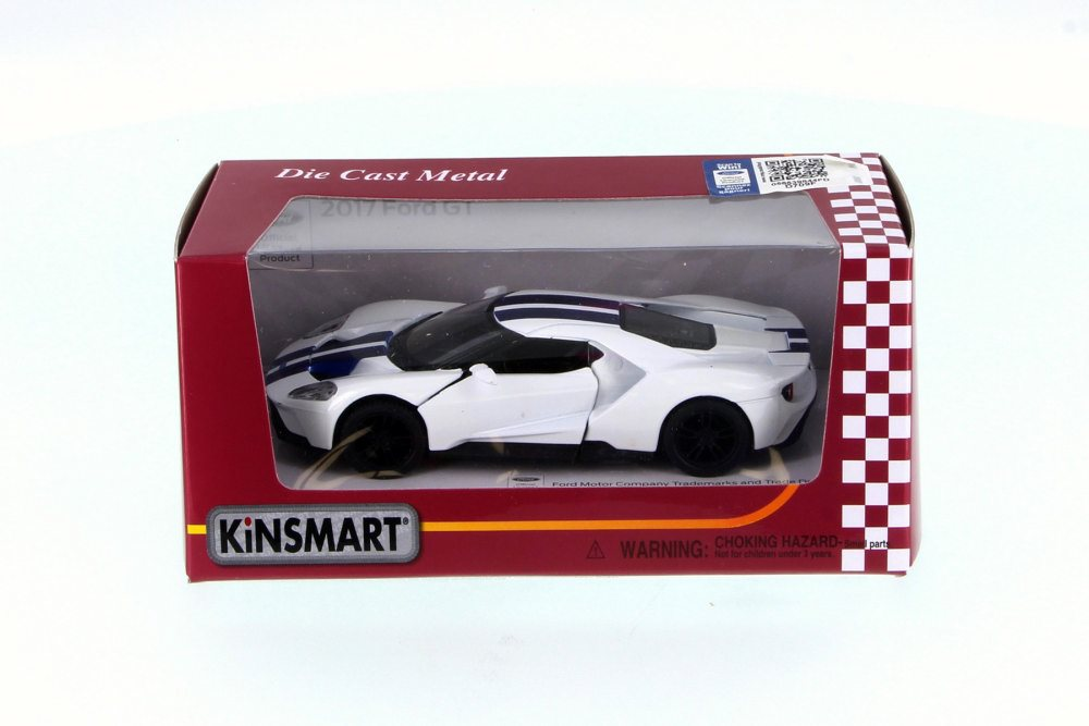 Ford Gt White W Stripes Kinsmart Fw   Scale