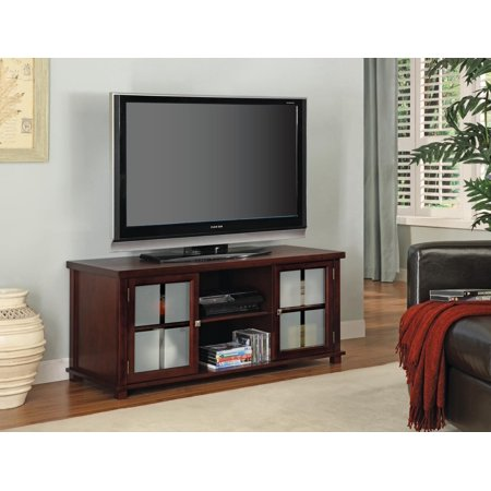 Miriam 47 Cherry Wood Contemporary Entertainment Center Media Console Tv Stand With Frosted Gl Storage