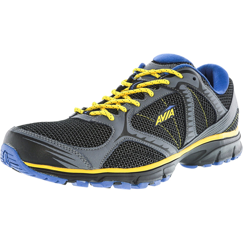 Avia Men's Avi-Trailside Black   Iron Grey Glow Yellow Royal Blue Ankle-High Trail Runner 14M by Avia