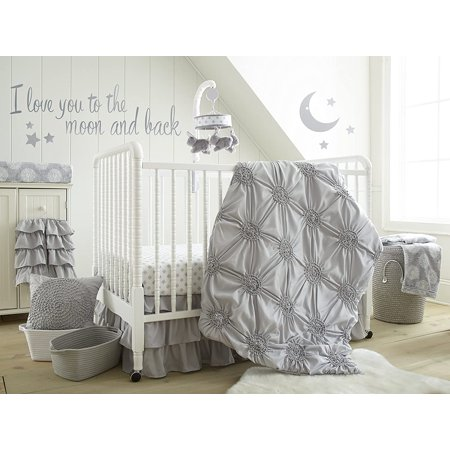 Levtex Baby - Willow Crib Bed Set - Baby Nursery Set - Grey - Soft Rosette Pintuck - 5 Piece Set Includes Quilt, Fitted Sheet, Diaper Stacker, Wall Decal & Crib Skirt/Dust Ruffle