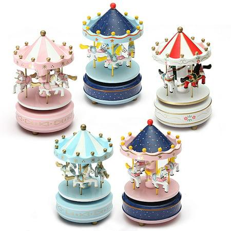 (Wooden + Plastic Merry-Go-Round Carousel Music Box Christmas Birthday Gift Toy)