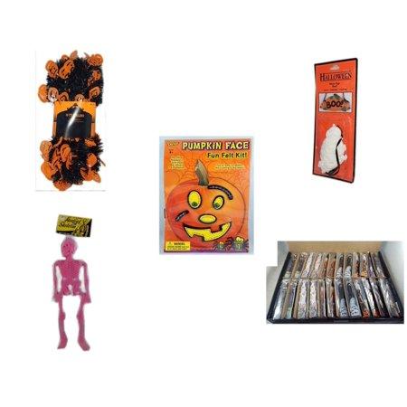 Wooden Halloween Crafts (Halloween Fun Gift Bundle [5 Piece] -  Black & Orange Pumpkin Garland 10 ft. -  Resin