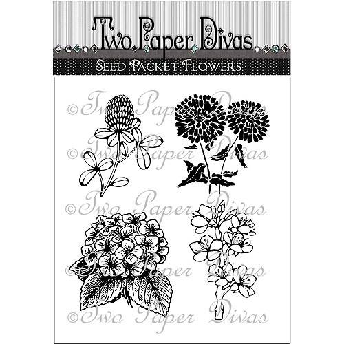 "Two Paper Divas Clear Stamps, 6.5"" x 4.5"", Seed Packet Flowers"