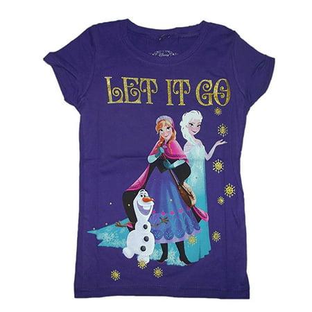 Mighty Fine Disney Frozen Elsa & Anna Let it Go Girls Purple Shirt (SMALL)