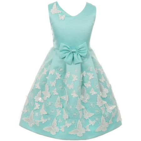 Little Girls V Neck Satin Top Butterfly Mesh Lace Bow Flower Girl Dress USA Aqua 2 - Girls Butterfly Dress