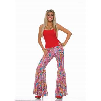 Womens Wild Swirl Bell Bottom Pants Halloween Costume (Stretchy Bell Bottom Pants)
