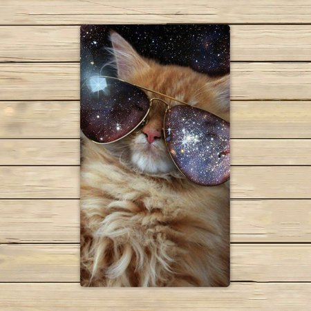 GCKG Funny design Star Galaxy Outer Space Cool Sunglass Cat Beach Towel Shower Towel Wrap For Home and Travel Use Size 16x28 (Cat Space Glasses)
