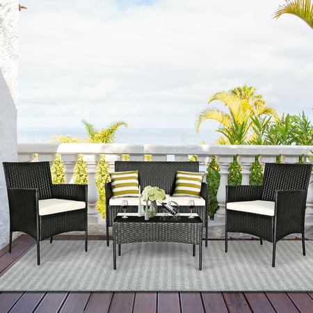 Costway 4-piece Outdoor Patio PE Rattan Wicker Table Shelf Sofa Furniture Set With Cushion