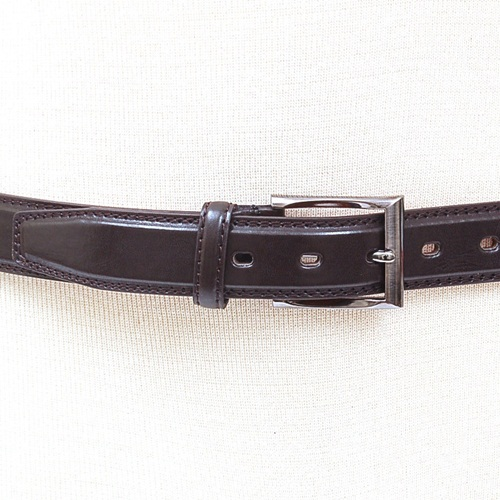 Mens Leather Belt Dressy or Casual Black & Brown Gunmetal Buckle Sizes Available Brown Med 34-36
