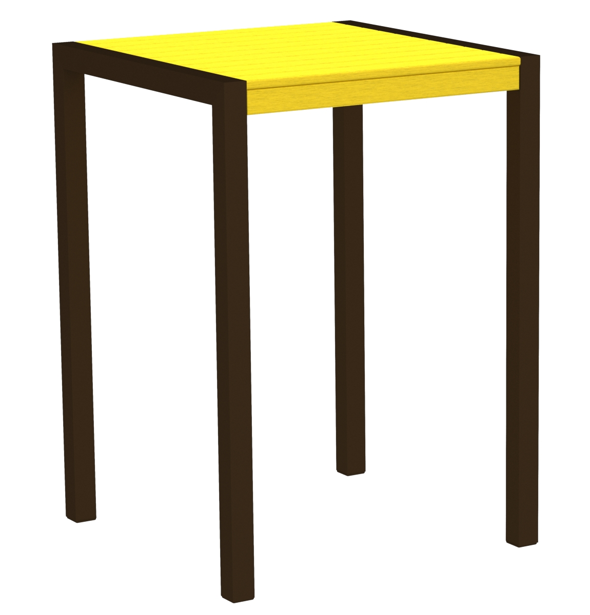 POLYWOOD 8002-16LE MOD 30' Bar Table in Textured Bronze / Lemon
