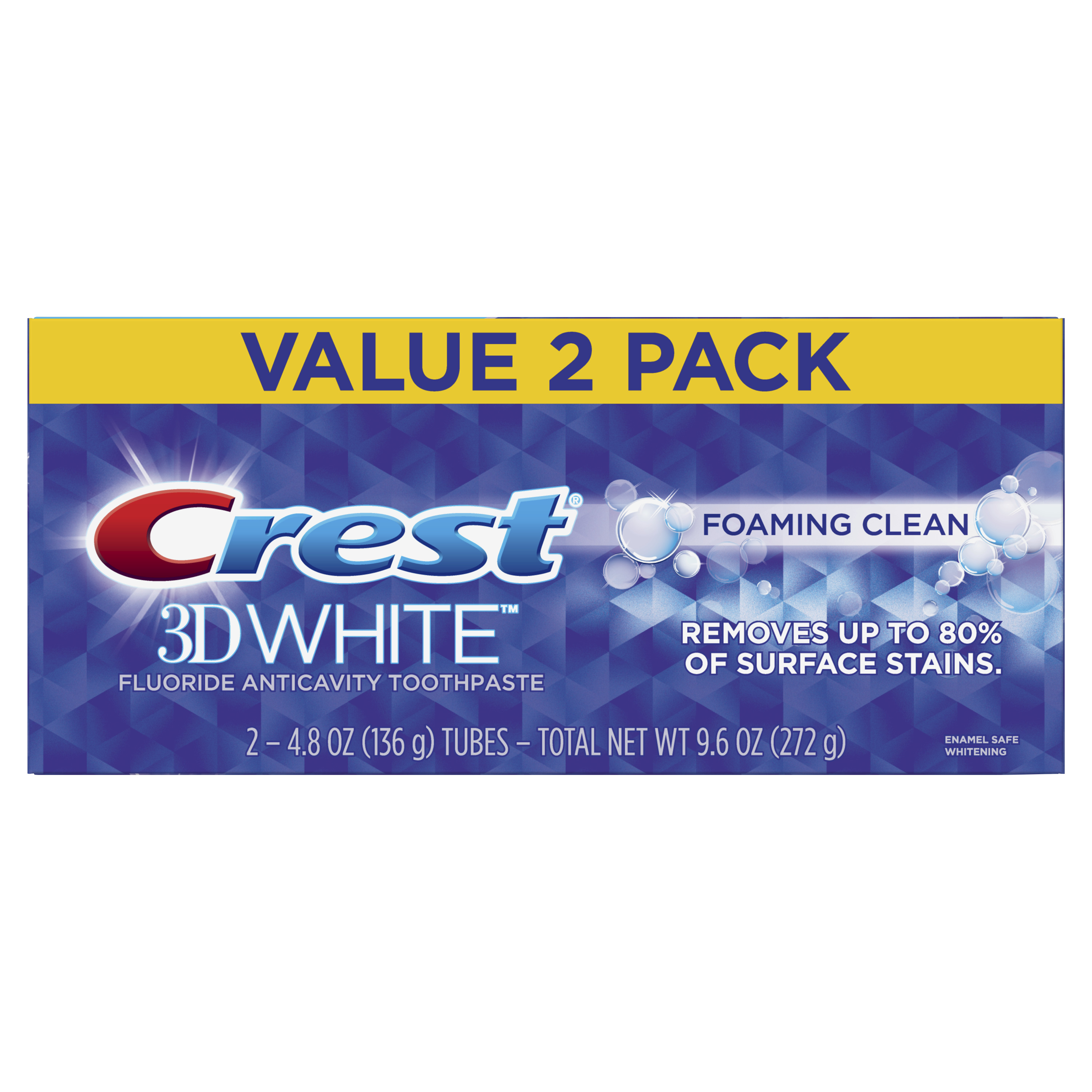 Crest 3D White Foaming Clean Whitening Toothpaste, 4.8 oz, Pack of 2
